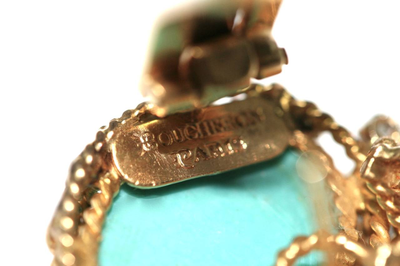 Boucheron Turquoise Diamond Gold Earrings and Brooch In Excellent Condition For Sale In Monte Carlo, MC