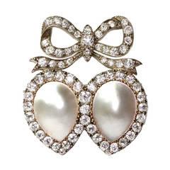 19th Century Mabe Pearls Diamonds Brooch