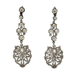 Late 19th Century Diamonds Silver Gold Earrings