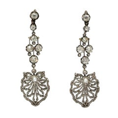 Late 19th Century Diamonds Silver Gold Earrings