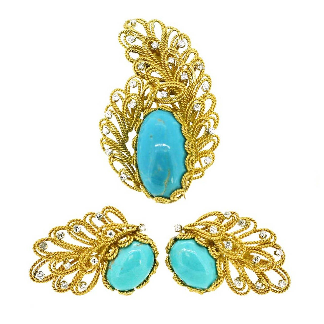 Boucheron Turquoise Diamond Gold Earrings and Brooch