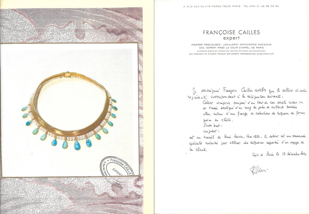 Drapery necklace in yellow gold braided rsoft mesh lined with a line of cultured pearls, holding eighteen pear-cut turquoises held by a diamond set ring, certificate by Françoise Cailles, length 40cm, height 3cm (91.Diamond 3 grams)
