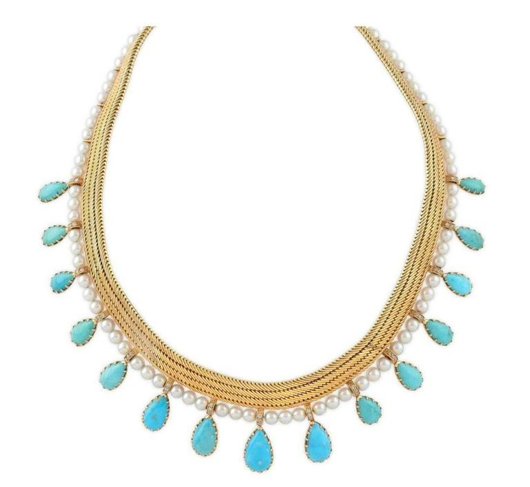 Women's 1950s Certified by FrançOise Cailles René Boivin Paris Turquoise Gold Necklace For Sale