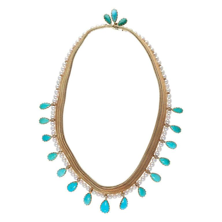 1950s Certified by FrançOise Cailles René Boivin Paris Turquoise Gold Necklace In Excellent Condition For Sale In Monte Carlo, MC