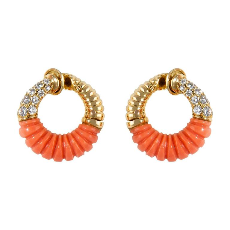 1970 Van Cleef & Arpels yellow gold earrings set with coral, diamonds, signed and numbered B3058K23, 2cm high (11.1 gms) 3520.