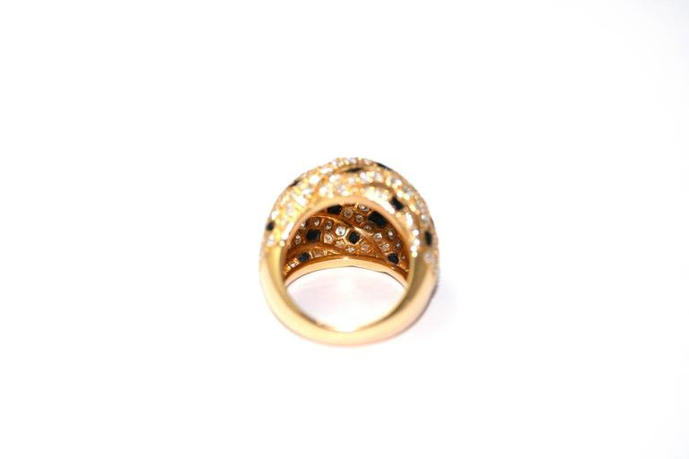 Cartier Panther Model Onyx Diamond Gold Ring In Excellent Condition For Sale In Monte Carlo, MC