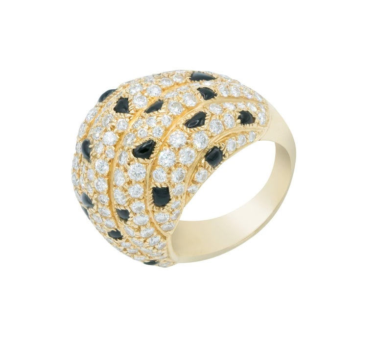 Cartier Panther Model Onyx Diamond Gold Ring For Sale 1
