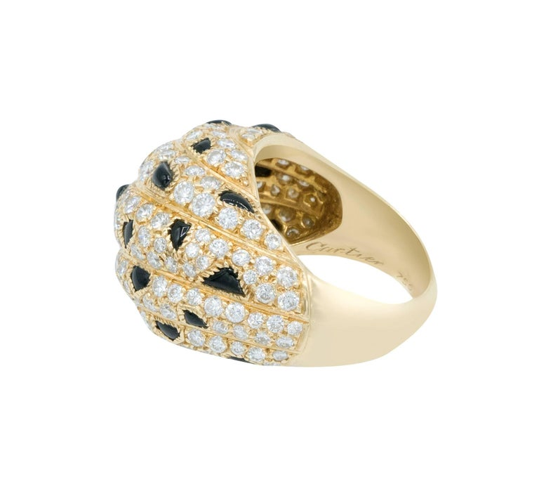 Cartier Panther Model Onyx Diamond Gold Ring For Sale 2