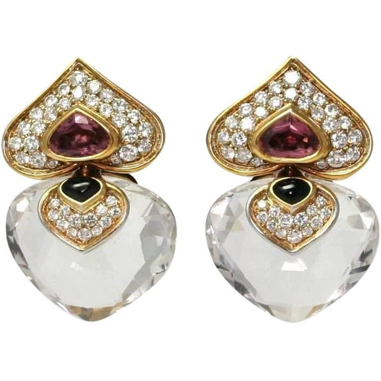 Marina B. Pivomab Tourmaline Rock Crystal Diamond Yellow Gold Earrings, 1982