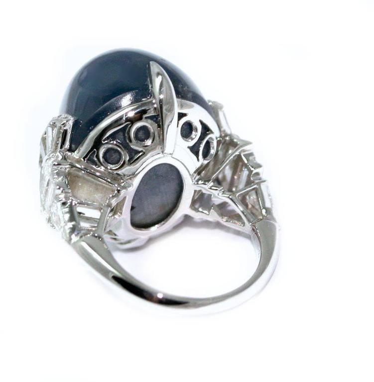 Women's Art Deco Cabochon Star Sapphire Diamond Platinum Cocktail Ring