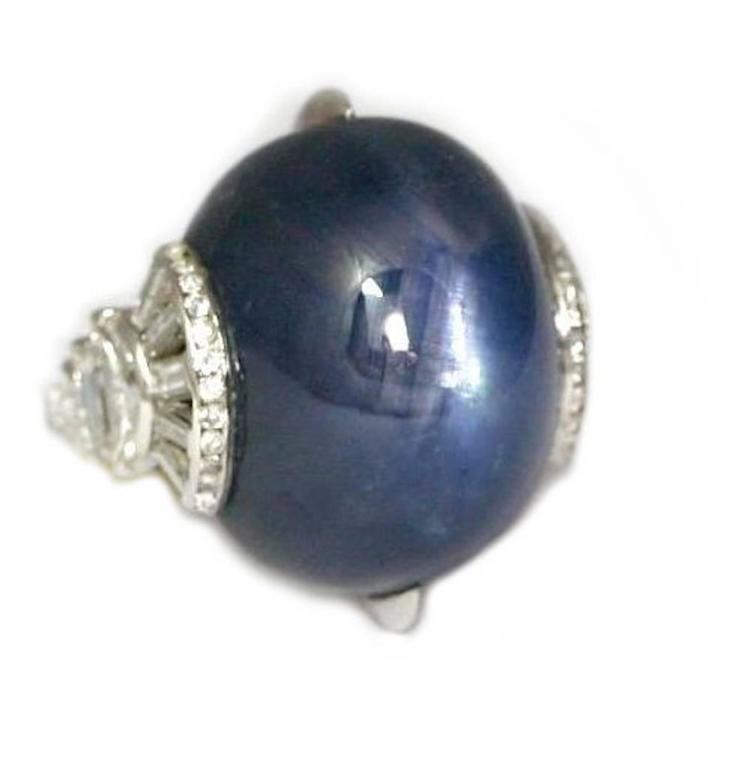Art Deco Cabochon Star Sapphire Diamond Platinum Cocktail Ring 1
