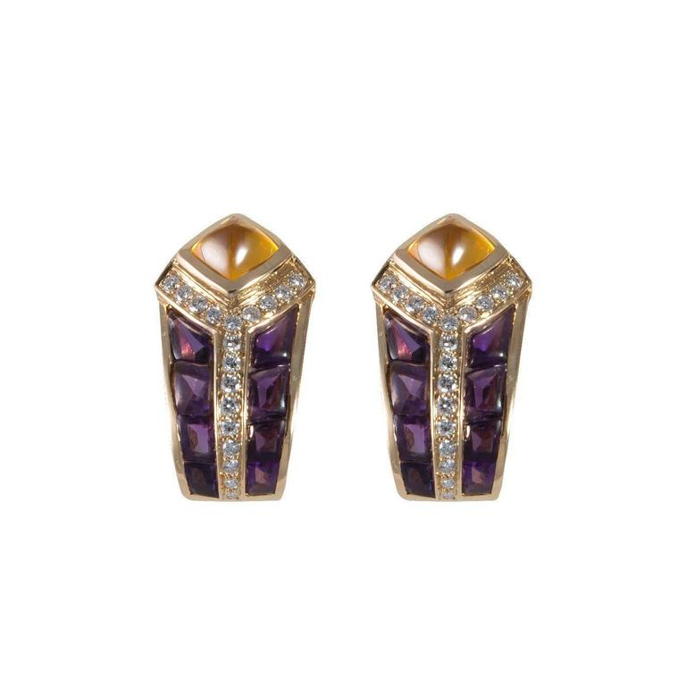 FRED pair of yellow gold clips set with amethysts, diamonds and citrines, signed (15 grams)