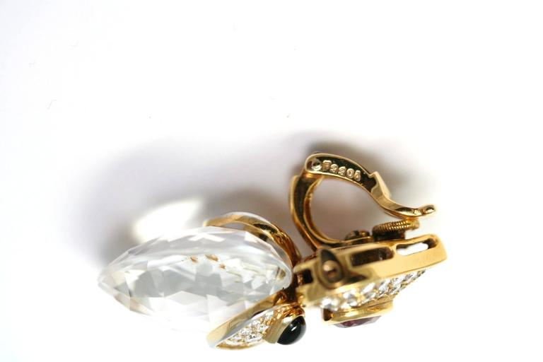 Marina B. Pivomab Tourmaline Rock Crystal Diamond Yellow Gold Earrings 1982  3