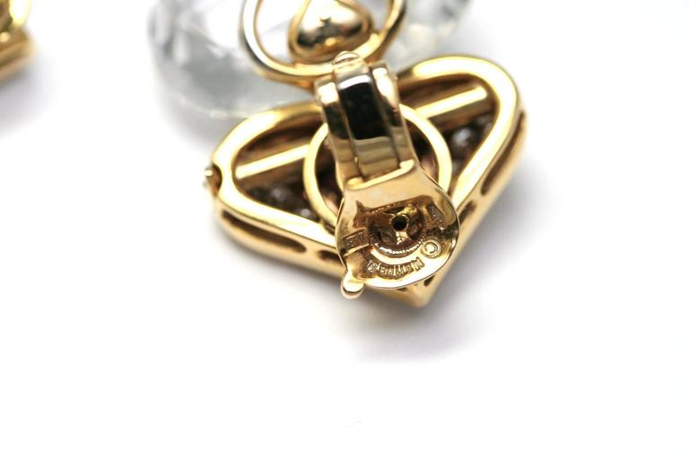Women's Marina B. Pivomab Tourmaline Rock Crystal Diamond Yellow Gold Earrings 1982  For Sale