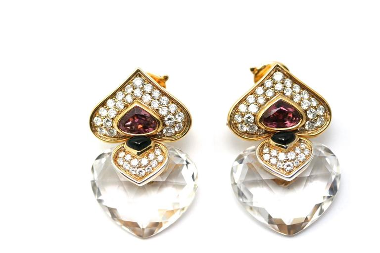 MARINA B. Pivomab 1982 Pair of earrings yellow gold, rock crystal and tourmaline, signed and numbered F3304, with Marina B. case (39 grams)  Illustrated in 'Marina B.' by Viviane Jutheau de Witt