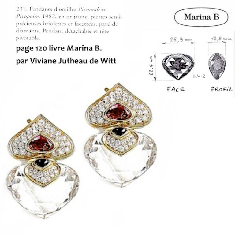 Marina B. Pivomab Tourmaline Rock Crystal Diamond Yellow Gold Earrings 1982  For Sale 1