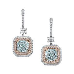 Interchangeable Natural Bluish Green Color Diamond Earrings Ring and Pendant