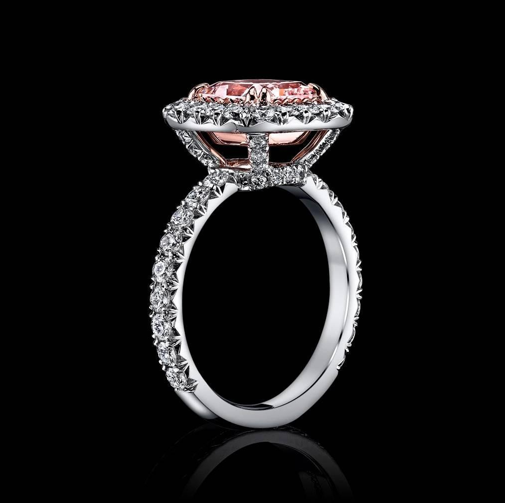 2 42 Natural Fancy Light Pink Diamond Gold Platinum Ring For Sale at 1stdibs