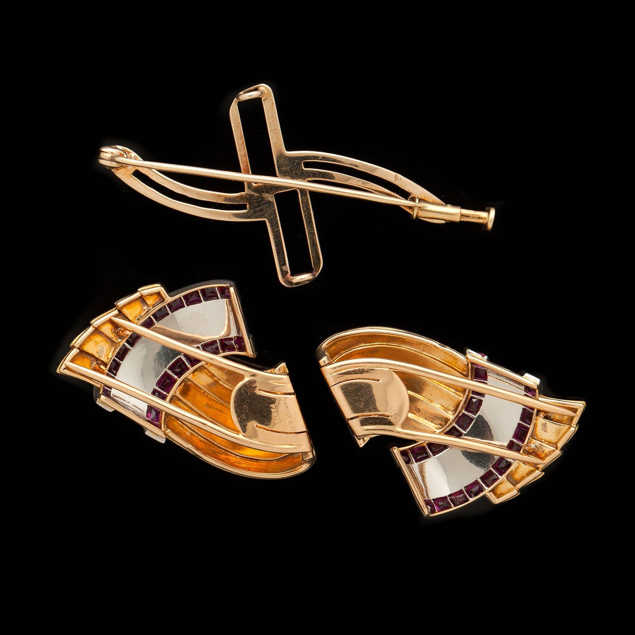 Double Gold Platinum: Tiffany And Co. Retro Ruby Gold Platinum Double Clip And