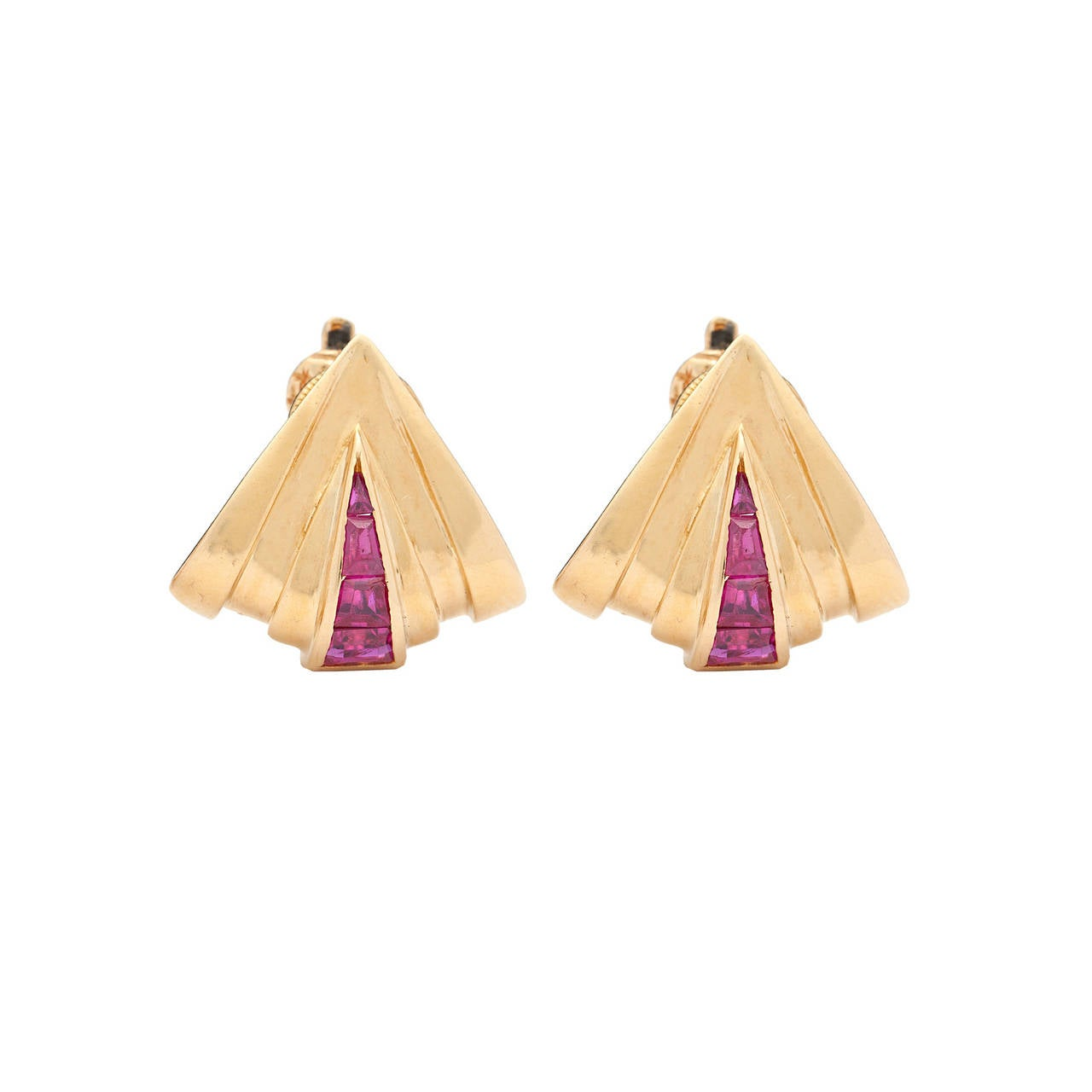"""Retro Circa: 1940. Double clip & Earrings Adorned with 48 Rubies, Set in 18Kt Yellow accented by platinum, Marked """"Tiffany & Co Paris."""" The double clips convert from one brooch (2 inches) to two clips. The non-pierced ear clips measure 16.5 mm x"""