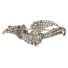Antique Stylized Diamond Silver Gold Phoenix Brooch