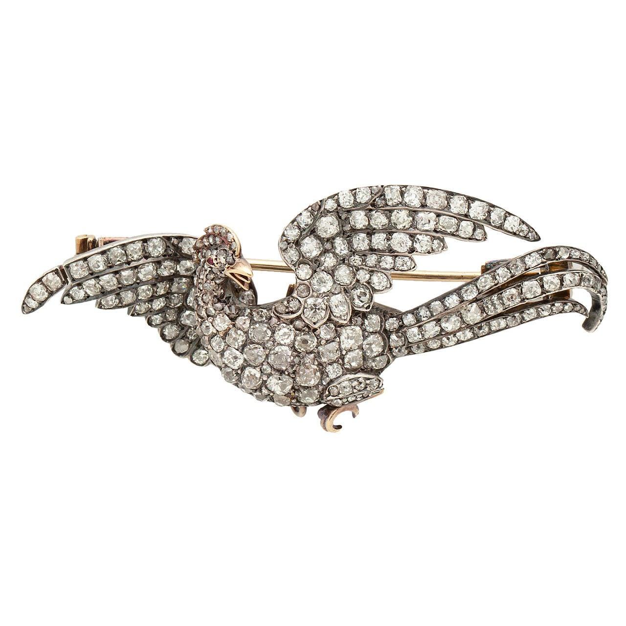 Antique Stylized Diamond Silver Gold Phoenix Brooch