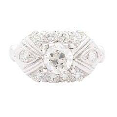 0.74 Carat Old European Cut Diamond Gold Ring