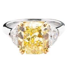 Natural Fancy Intense 5.01 Carat Yellow Diamond Gold Ring