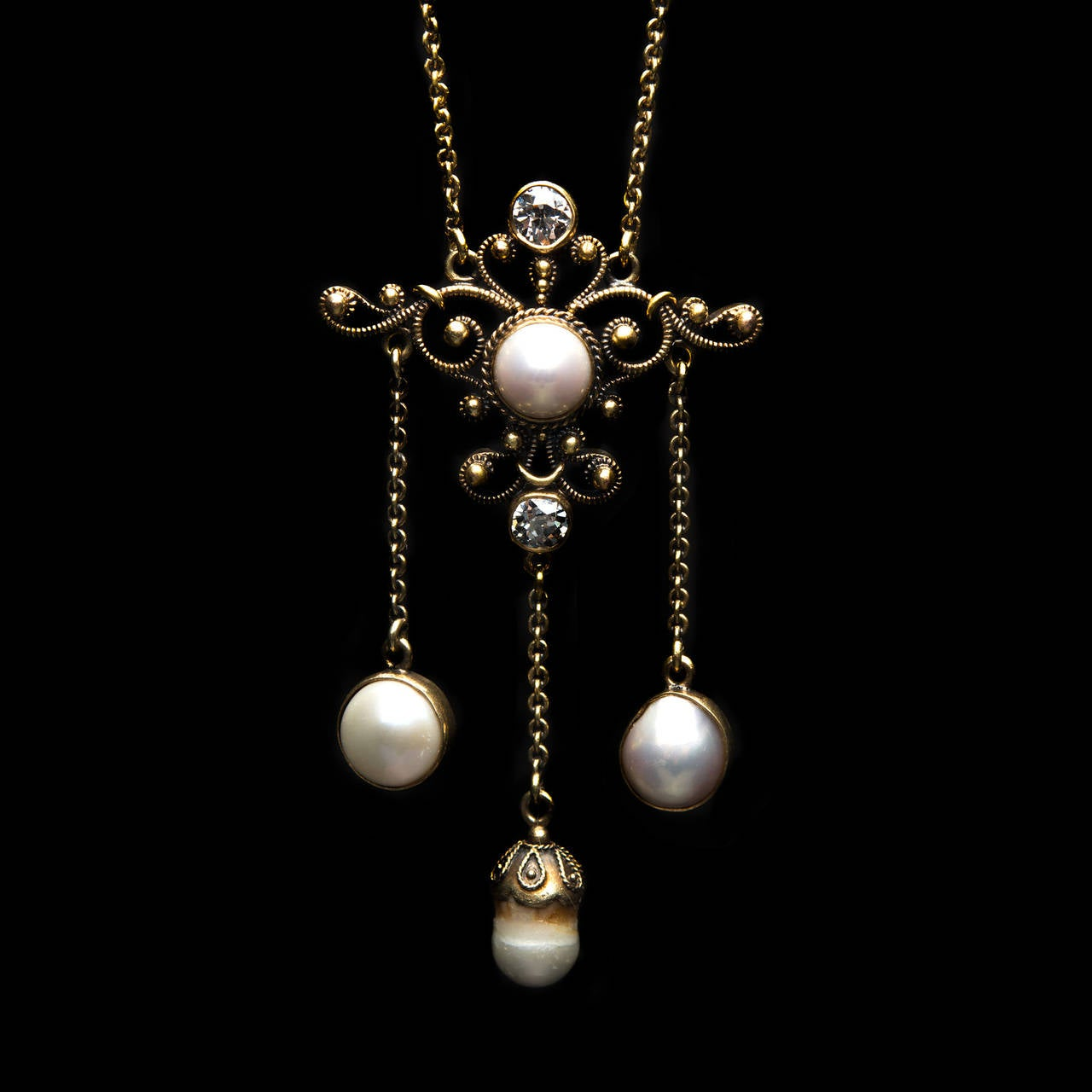 Mabe Pearl Necklace: Mabe Pearl Diamond Gold Lavaliere Necklace At 1stdibs