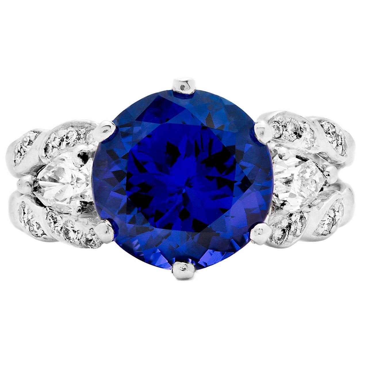 Tanzanite and Pear Shaped Diamond Platinum Cocktail Ring For Sale at 1stdibs