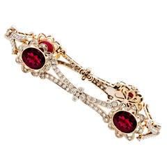 Rubelite Diamond Gold Floral Bracelet