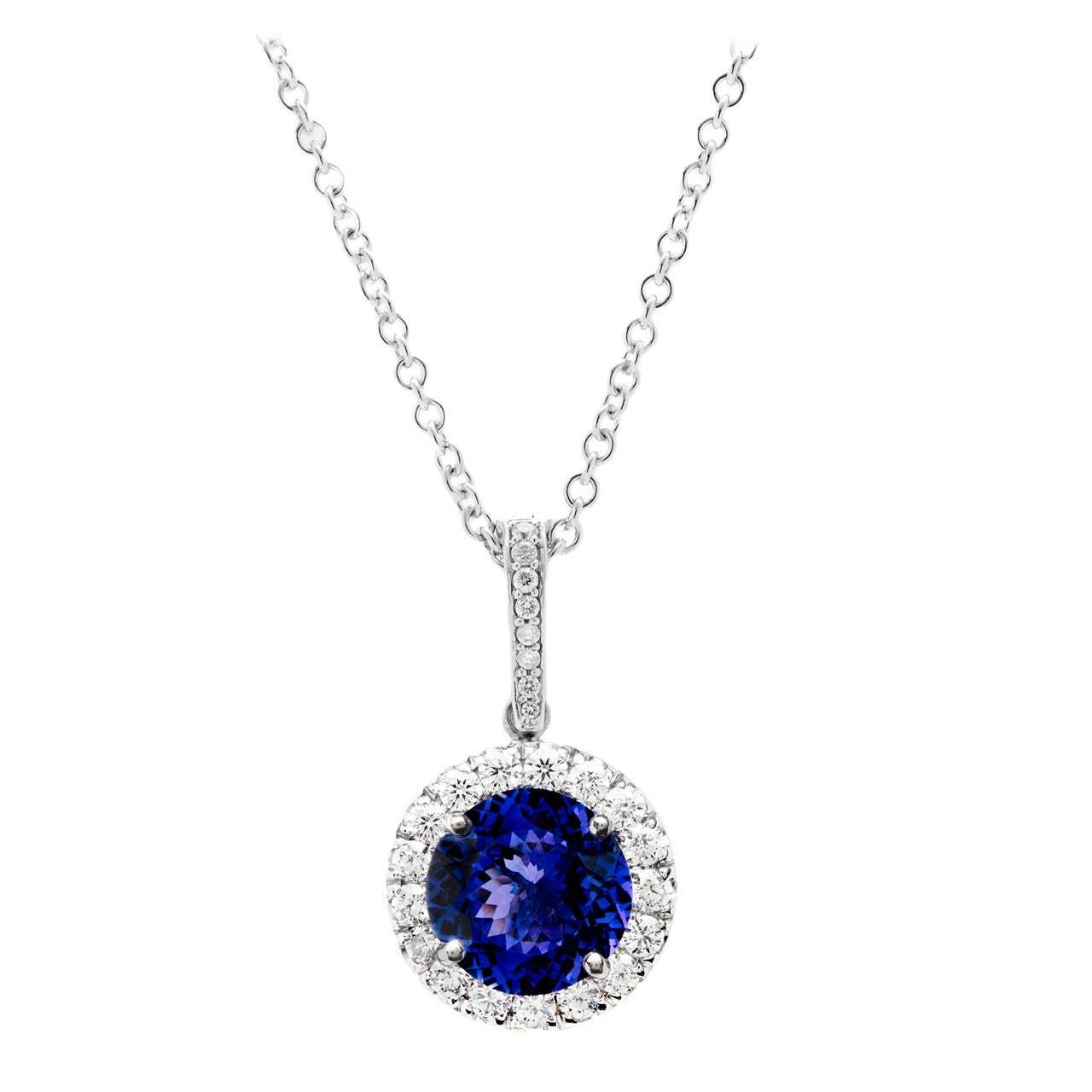 Tanzanite Diamond Gold Halo Pendant Necklace