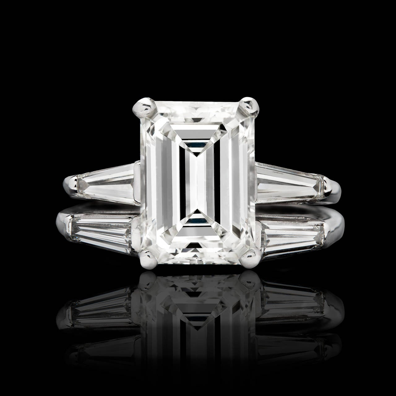 3 26 Carat GIA Emerald Cut Diamond Platinum Wedding Set at 1stdibs