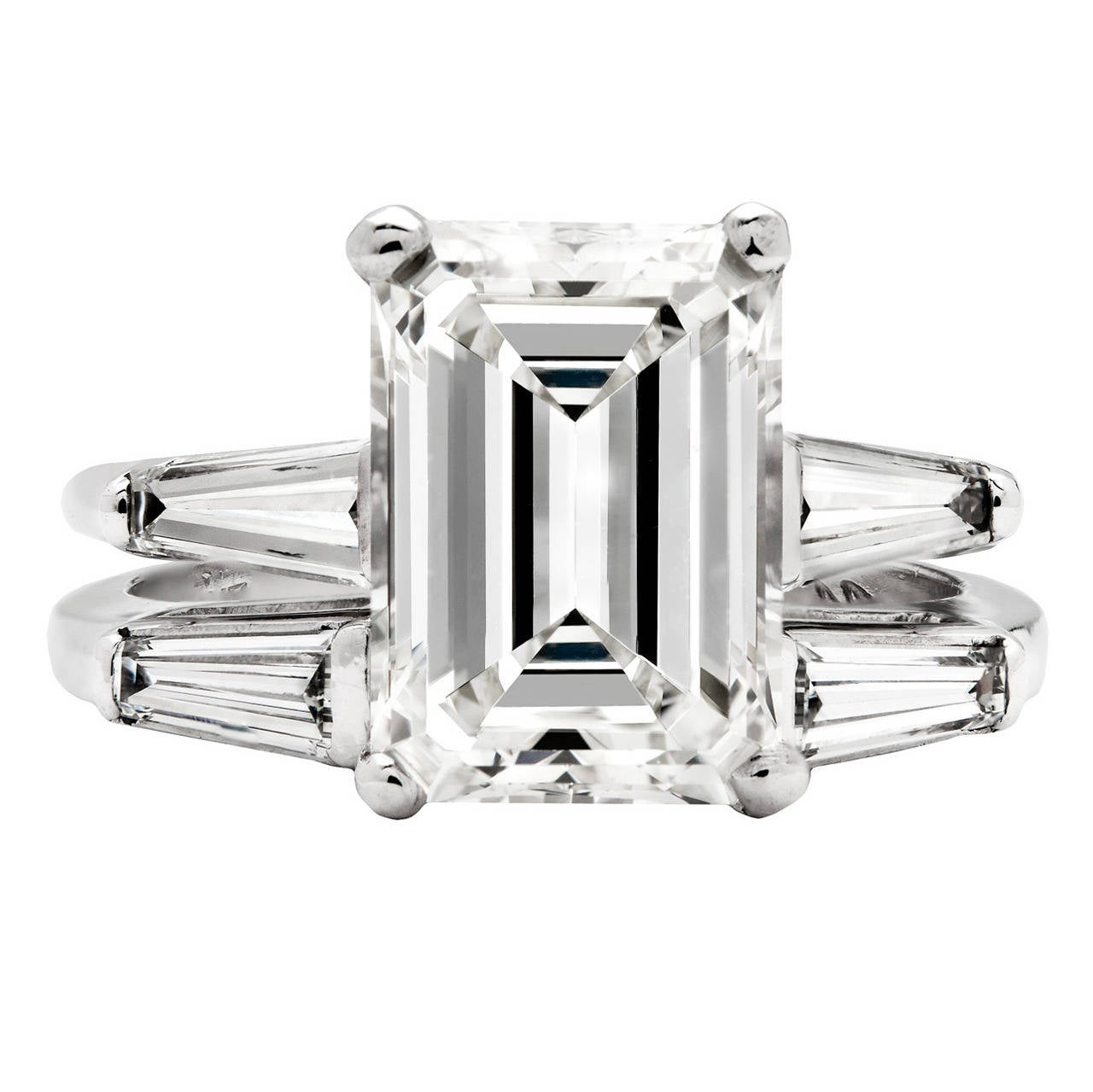 3 26 Carat GIA Emerald Cut Diamond Platinum Wedding Set at 1stdibs