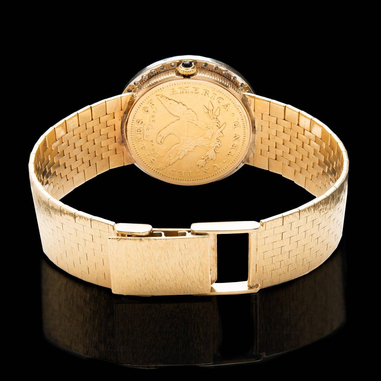 bueche girod yellow gold diamond coin dial wristwatch at 1stdibs bueche girod yellow gold diamond coin dial wristwatch 3