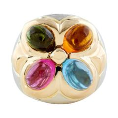 Bulgari Semi-Precious Gold Gemstone Ring, Italy