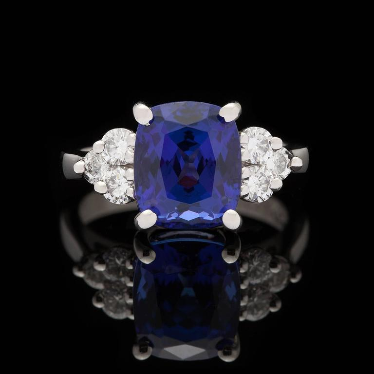 4 14 Carat Cushion Cut Tanzanite Diamond Platinum Ring at 1stdibs