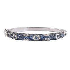 Salavetti Pavé Sapphire and Diamond Floral Bangle Bracelet