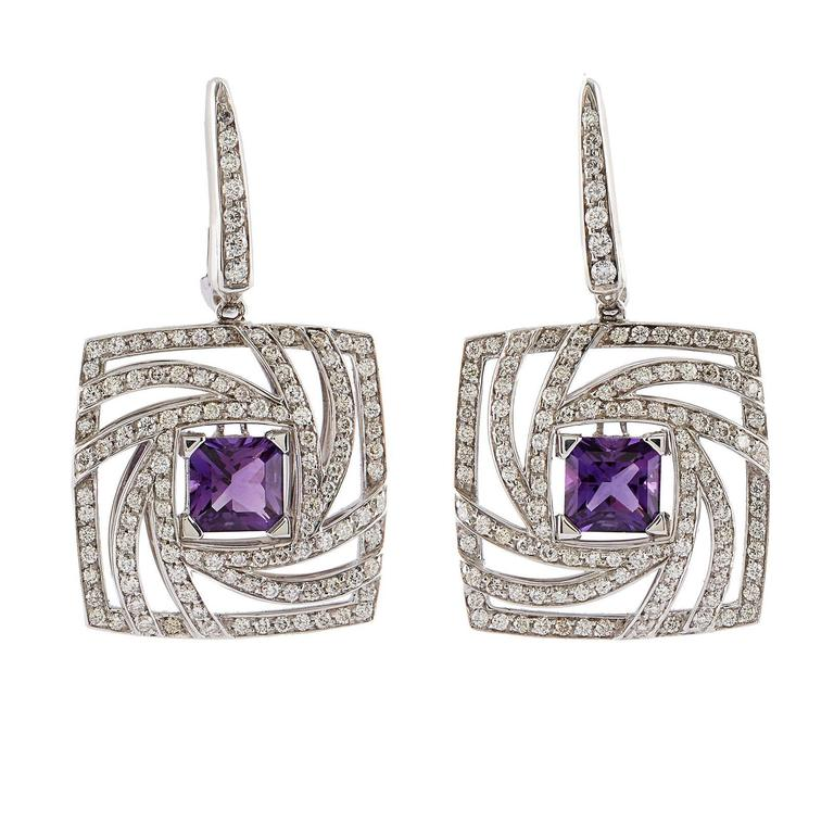 Luca Carati Amethyst Diamond Gold Earrings
