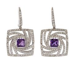 Luca Carati Amethyst Diamond Gold Earrings
