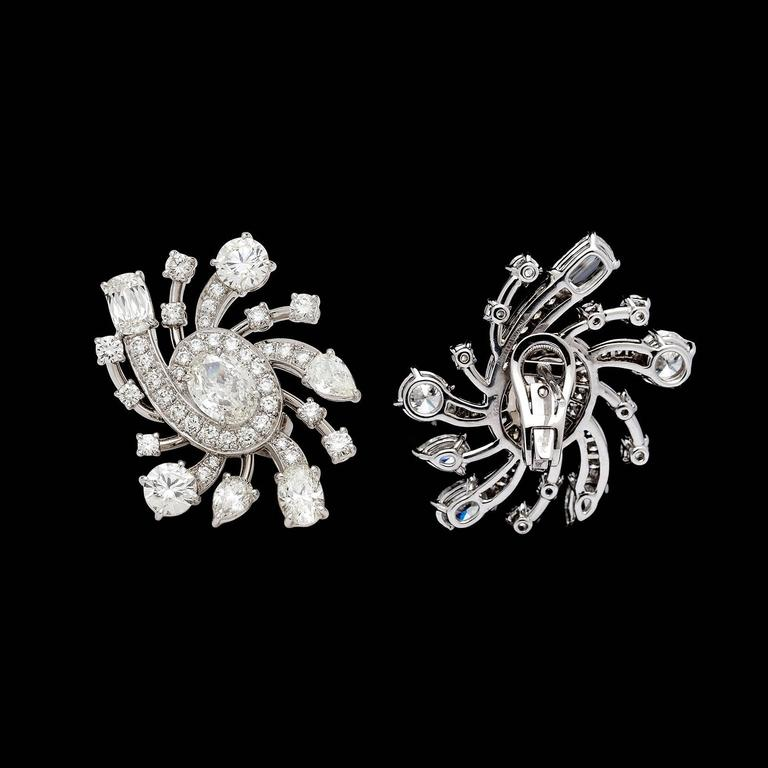 Gia Certified Diamond Platinum Galaxy Earrings For Sale At