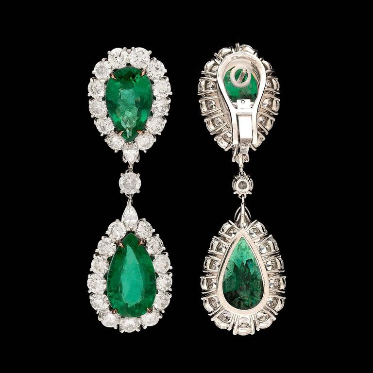 Women's Pear Shaped Emerald and Diamond Drop Earrings For Sale