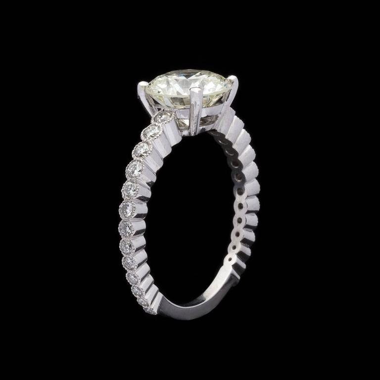 Women's Custom French GIA 2.06 Carat Round Diamond Platinum Ring  For Sale