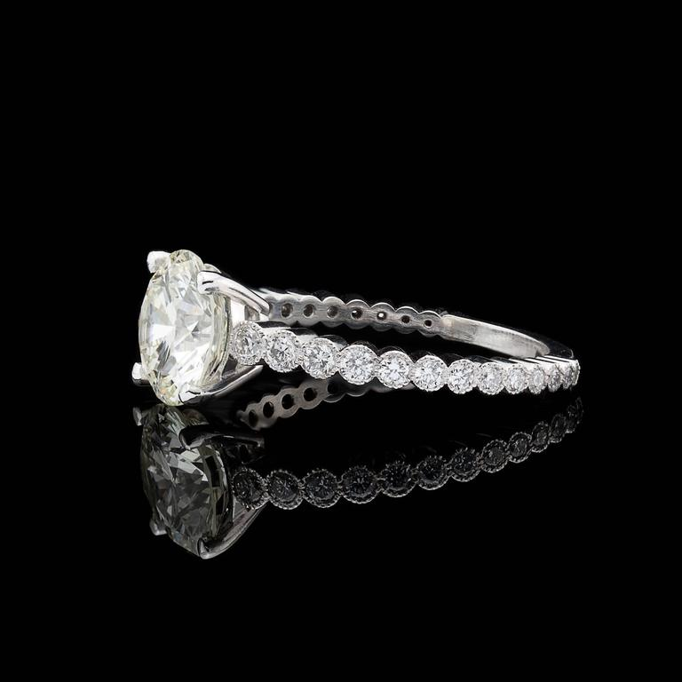 Custom French GIA 2.06 Carat Round Diamond Platinum Ring  In As New Condition For Sale In San Francisco, CA