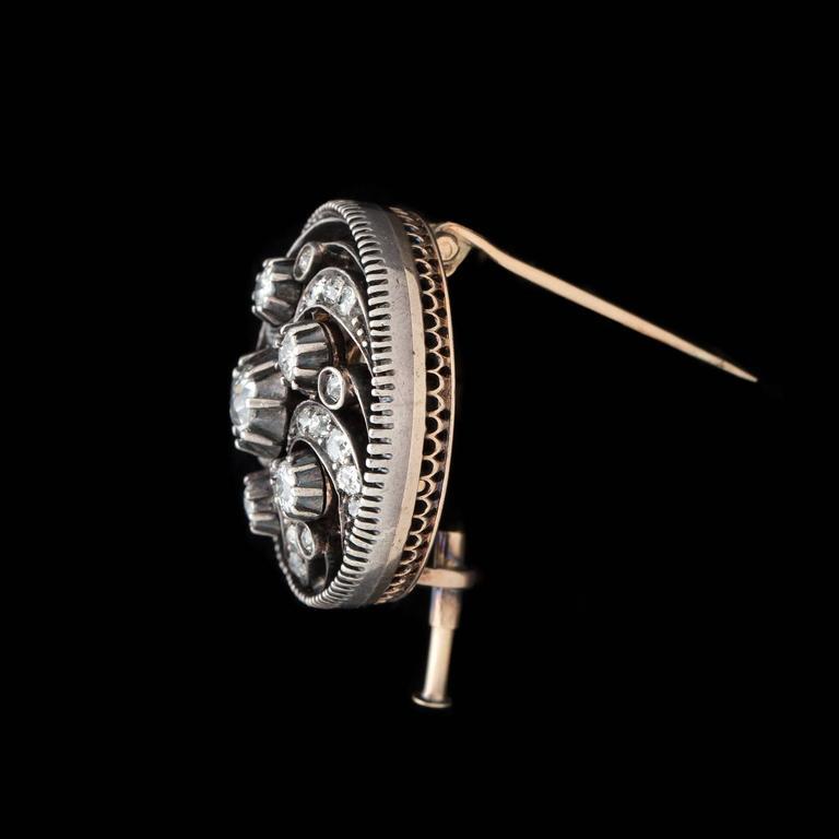 Old Mine Cut Antique Diamond Swirl Pin For Sale