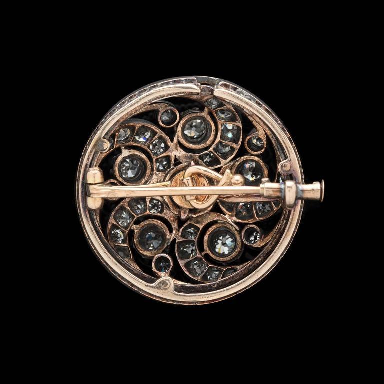 Antique Diamond Swirl Pin In Good Condition For Sale In San Francisco, CA