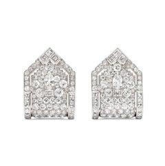 Art Deco Diamond and Platinum Dress Clips