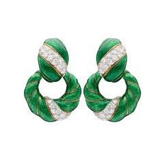Vintage David Webb Diamond and Enamel Dooknocker Earrings