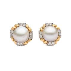 Van Cleef & Arpels Mabé Pearl and Diamond Ear Clips