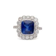 Ceylon Cushion Sapphire and Diamond Ring